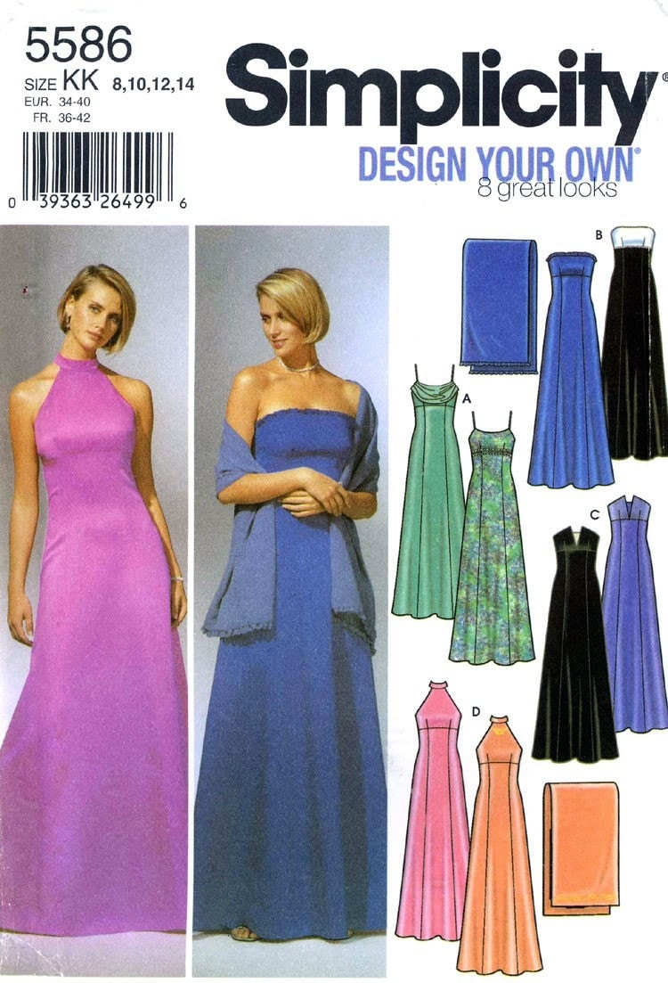Evening wrap pattern design patterns - Simplicity 5586 Pattern For 8 Styles Of Evening Dresses With A