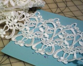 """6"""" Wide Gothic Gros Pointe de Venise White Heavy Brides Lace Bridal Shop Destash 1 Yard  3""""  B 05"""