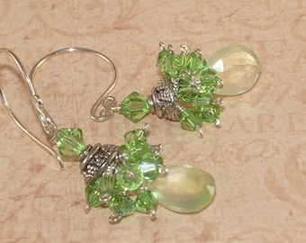 Green Dangle Earrings, Prehnite, Peridot Crystal, Stacked, Cluster,  Sterling Silver, Handmade Jewelry