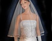 Veil  Drop Circular Bridal Veil with Satin Ribbon Edge