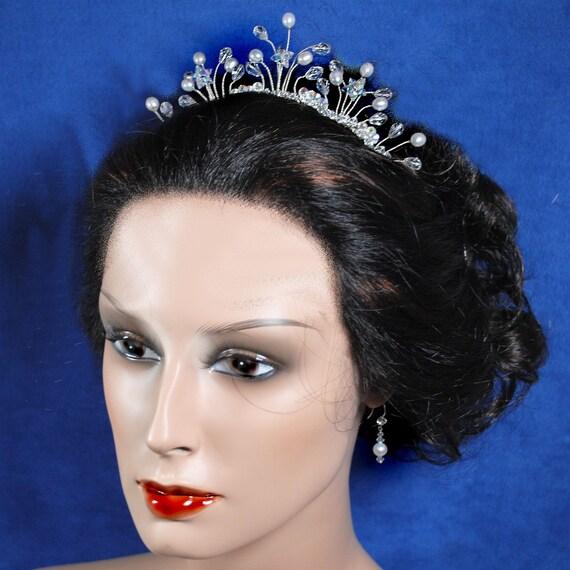 Tiara Bridal Comb, Pear Crystal Tiara, Crystal Pearl Bridal Comb