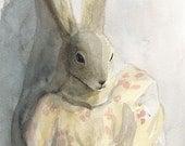 Portrait of Lovey - Rabbit Art, children, decor