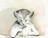 Cat art, cat, cat, watercolor, cat print- EAT YOUR PEAS - cat art, Archival print of watercolor