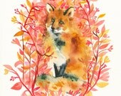 September Fox Limited Edition  Archival Fox Art Print of original watercolor