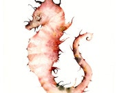 Seahorse watercolor, seahorse art print-Corals- large print, nautical, ocean decor