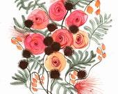 "botanical art-flowers, floral-pink -cottage decor-modern-""Spring No. 2"" large archival print of original painting, contemporary botanical"