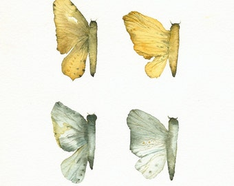 Butterfly Wings- Gold, teal, grey- archival print of original watercolor