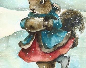 Skating - holiday decor, squirrel art