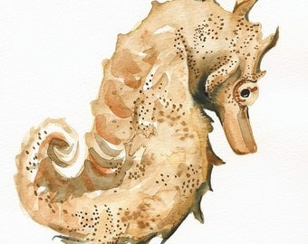 Seahorse art- Archival print, nautical decor