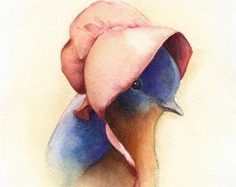 Nursery painting, nursery print- baby shower gift, Bluebird watercolor print - baby bluebird, nursery art