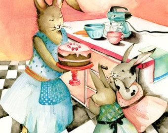 watercolor painting - reproduction- Helping Mama- Limited Edition Print- children, rabbit art