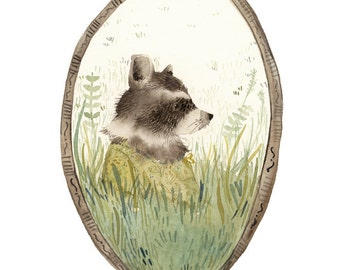 "Nursery art, Nursery Decor, Woodland Nursery, Nursery watercolor,Raccoon,woodland animal, raccoon art, baby's room ""Loretta"""