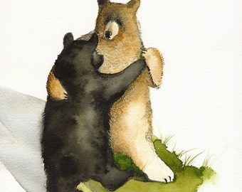 Bear art, bear watercolor painting, bear print, bears dancing- Waltz - Dancing Bears- print