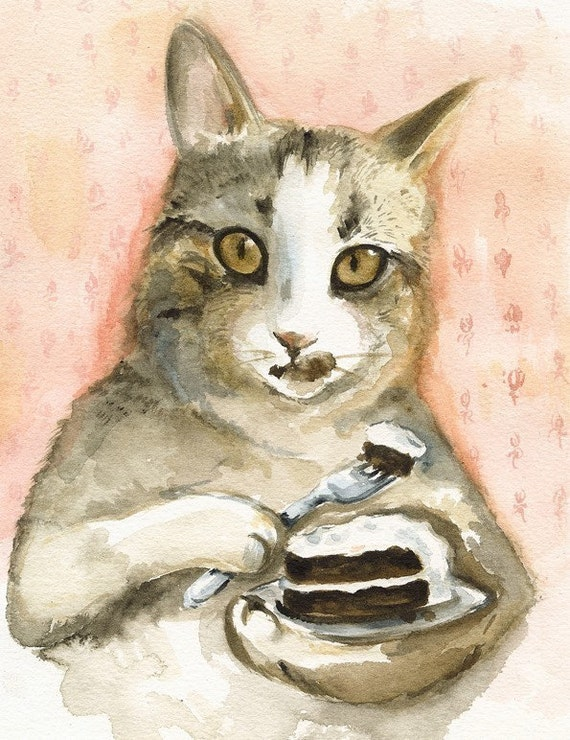 Just Desserts - Cat Watercolor Art- Archival print