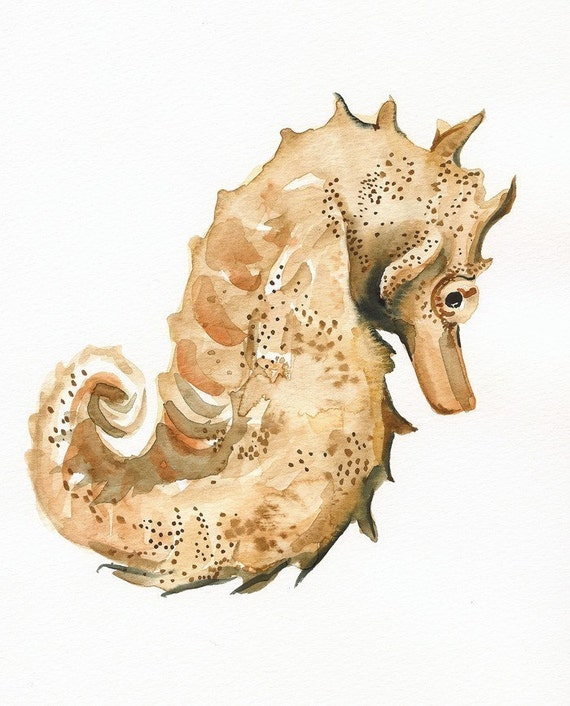 Seahorse art- Archival print, nautical decor
