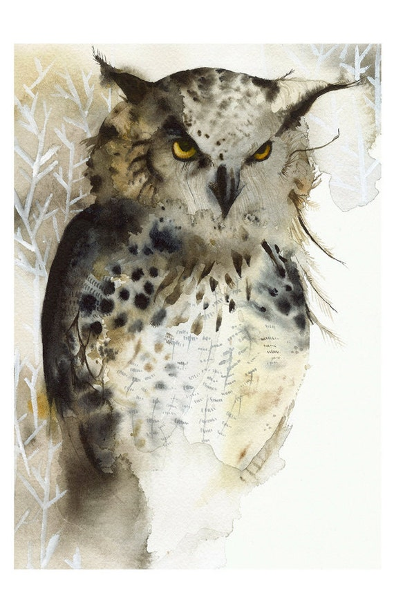Great Horned Owl- Archival Print- 11 x 17
