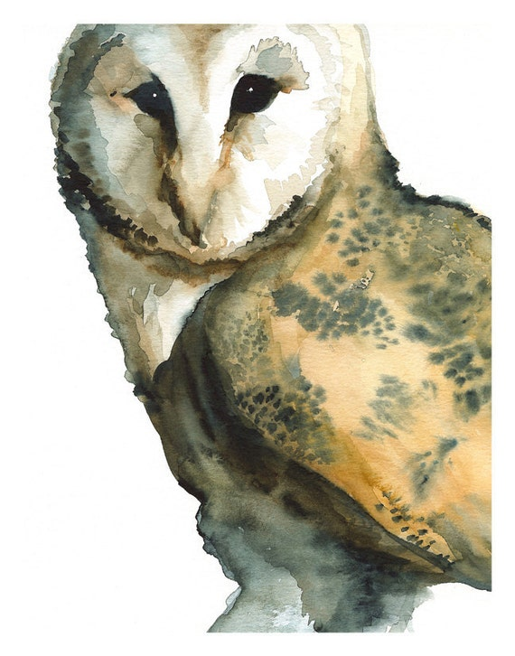 """Barn Owl art- """"Mice on My Mind"""" -large print after original watercolor"""
