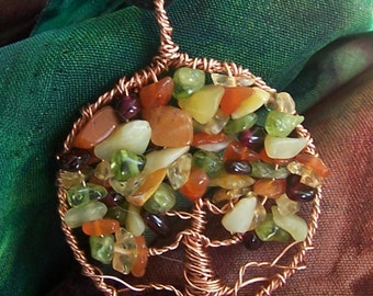 Autumn Tree of Life pendant - Fall leaves - Copper, Semi Precious stones- Red Orange Yellow Green foliage - Peridot, Citrine, Carnelian