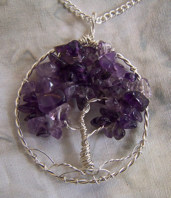 Amethyst Tree Of Life Necklace Pendant With Chain Amethyst