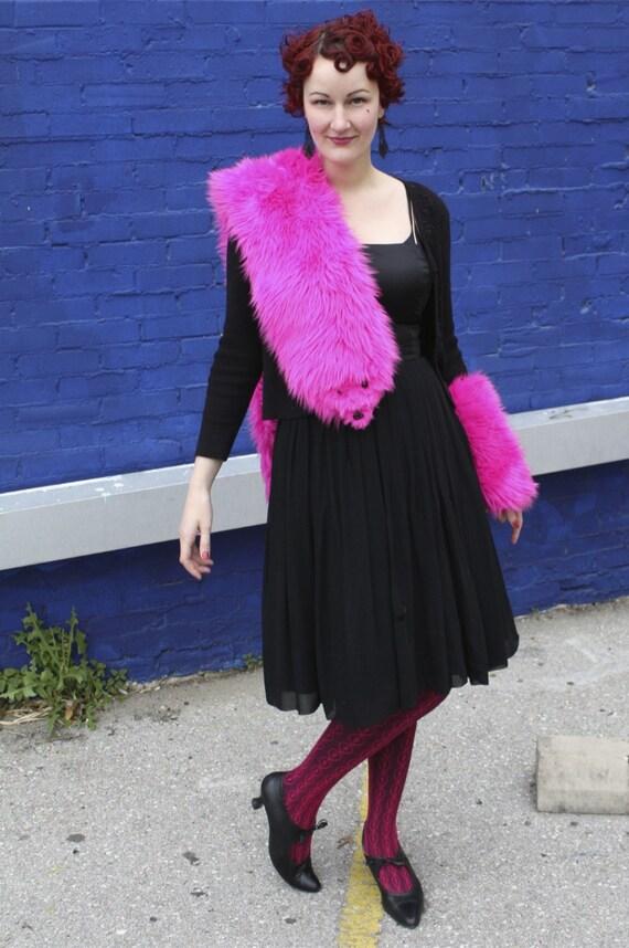 SALE Pink Faux Fur Stole - Fake Mink Eyes - Vegan Friendly