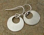 Contemporary Sterling Silver Earrings. Modern Jewelry, Silver Disc Earrings, Silver Jewelry
