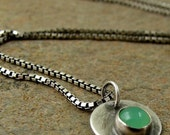 Chrysoprase Necklace, Oxidized Sterling Silver Necklace, Green Stone Silver Button Disc Jewelry