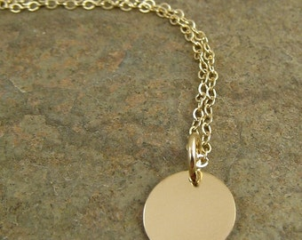 Modern Contemporary Tiny Gold Disc Necklace with Shiny Small 14k Gold Filled Disc, Delicate Bridal Necklace