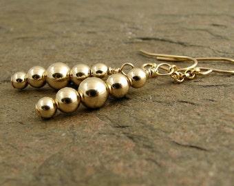 Long Gold Earrings Gold Dangle Earrings Modern Minimalist 14k Gold Filled Earrings