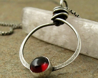 Modern Sterling Silver Red Garnet Necklace, Unique Garnet Jewelry, January Birthstone Necklace Birthday Gift, Garnet Pendant