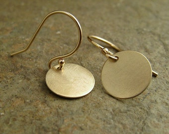 Small Gold Earrings, Solid Gold Earrings, Solid Gold Disc Earrings, Gold Dangle Earrings, 14k Earrings, Yellow Gold