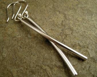 Long Silver Earrings Dangle Sleek Curved Bar Earrings Contemporary Minimal Earrings Sterling Earrings Silver Bar Earrings