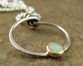 Solid 14k Gold & Sterling Silver Opal Necklace Genuine Coober Pedy Opal Jewelry, October Birthstone Necklace