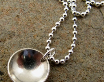 Mod Sterling Silver Necklace Modern Minimalist Silver Disc Necklace Simple Classic