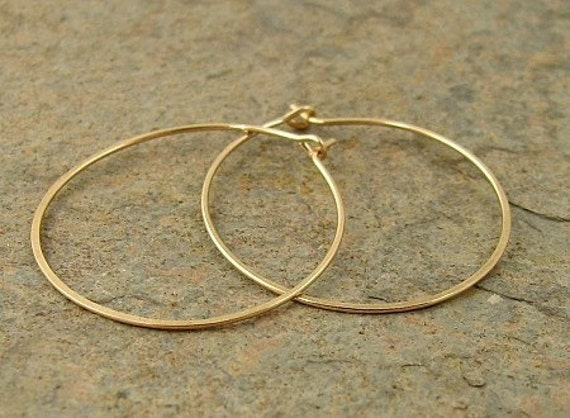 "Small Gold Hoops 14k Gold Filled 1"" Hoop Earrings, Modern Small Hoops"
