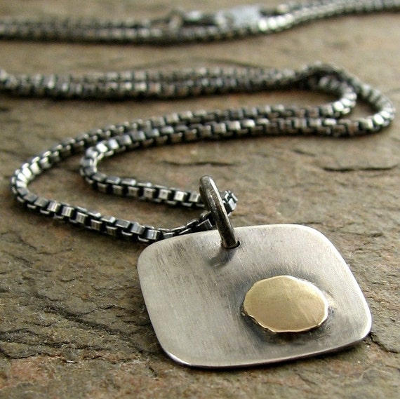 Sterling Silver Gold Mens Necklace, Rustic Oxidized Silver Necklace for Men, Mixed Metal Necklace Silver with Gold, Men's Sterling Necklace