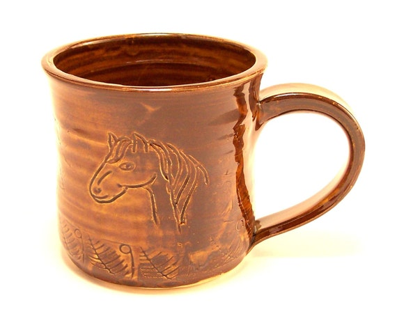 Pottery Horse Mug Horse Cup in Amber Brown