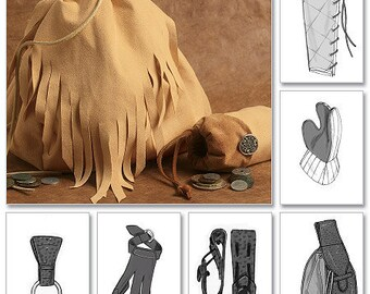 Sewing Pattern-Butterick 5733-Mug n ax loops,bracers,greaves,gloves n pouches Ren Faire