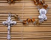 Sacred Heart Rosary - Caramel Brown Glass Catholic Rosary Beads Carmel Catholic Amber Easter Baptism
