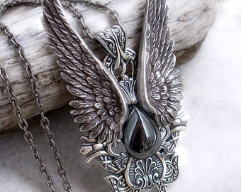 Mens Wings Pendant Silver Hematite necklace Large Statement Pendant womens unisex steampunk jewelry