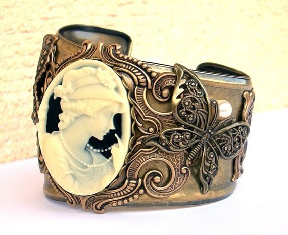 Cameo Brass Cuff Bracelet Filigree Butterflies Victorian Gothic Jewelry Large Brass Bracelet Cuff romantic gift statement cuff