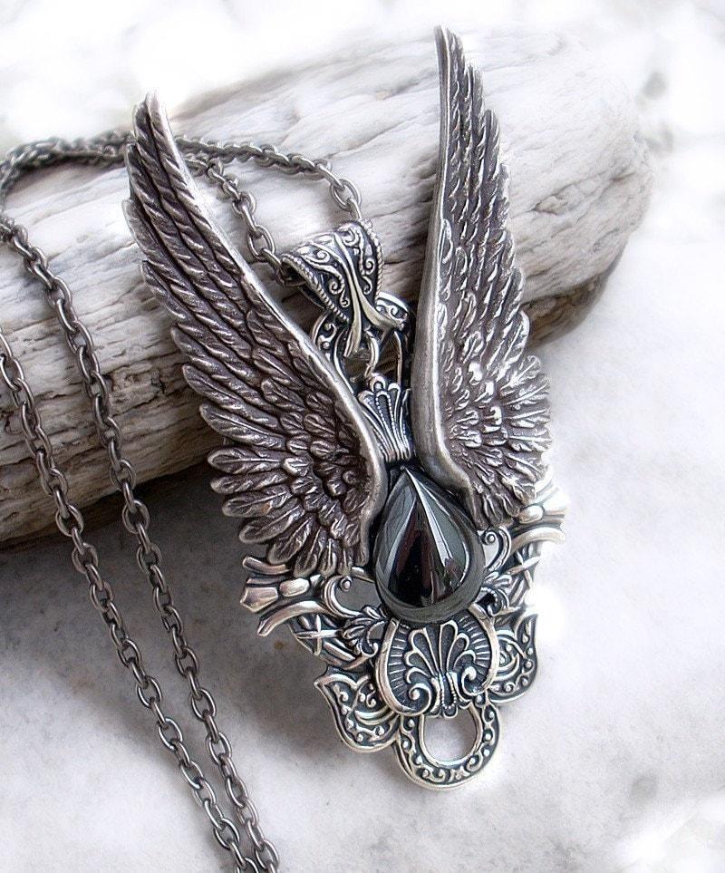 Mens pendant steampunk jewelry Gothic jewelry Hematite