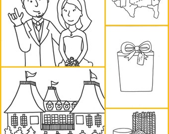 Custom Coloring Book Favor 4 pages - PDF