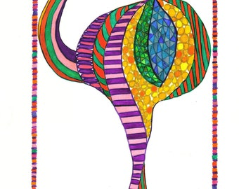 Bird, Bird Art, Rhea Bird, Rhea Bird Art, Celebration Rhea Bird Print, Whimsy Bird Print