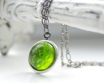 Grass Green Necklace, Simple Pendant Necklace, Lucite Jewelry, Green Pendant, Leaf Green, Spring Green, Affordable Jewelry - Gumdrop