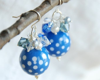 Lucite Earrings, Blue and White, Chunky Earrings, Statement Earrings, ChaCha Earrings, Sterling Silver, Fresh - Summer Fling