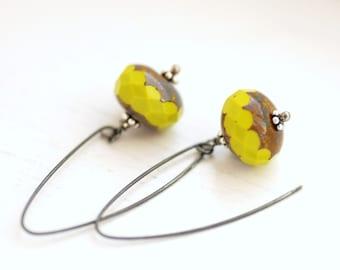 Simple Earrings, Chartreuse Earrings, Summer Jewelry, Glass Earrings, Dangle, Neon Jewelry, Oxidized Sterling Silver