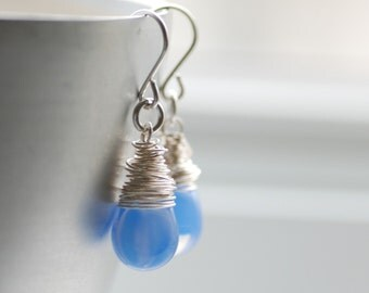 Blue Earrings, Cornflower Blue Glass Earrings, Periwinkle Blue, Blue Wedding, Wrapped Sterling Silver