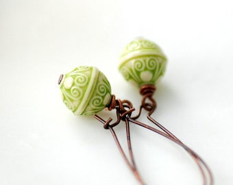 Dangle Earrings, Pistachio Green and Cream Textured Acrylic and Copper