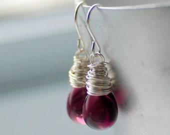 Purple Earrings, Glass Earrings, Simple Wedding, Purple Wedding, Plum, Drop Earrings, Bridesmaid Jewelry - Orchid