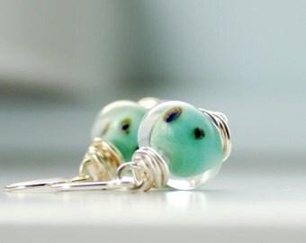 Aqua Earrings, Boro Glass Earrings, Mint Green Earrings, Wire Wrapped Earrings, Pastel Wedding, Made in Canada - Lamb's Ear